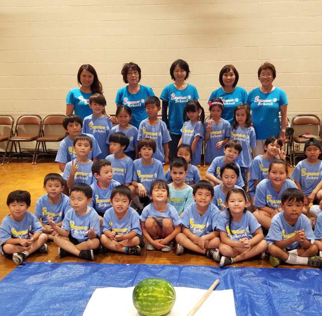 ガーデナ仏教会付属日本語学園 スイカ割り大会